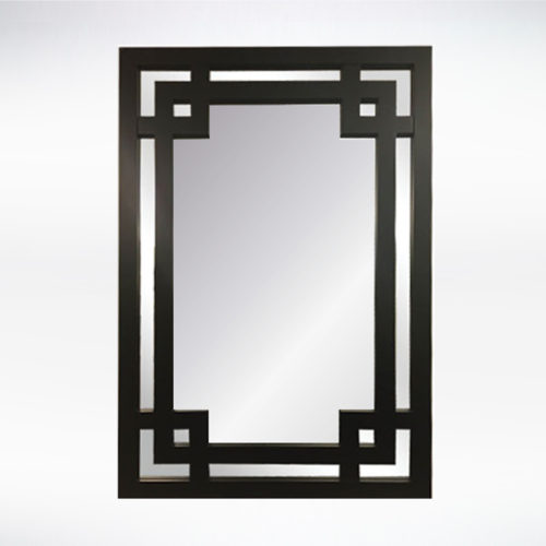 Greek Key Mirror Black