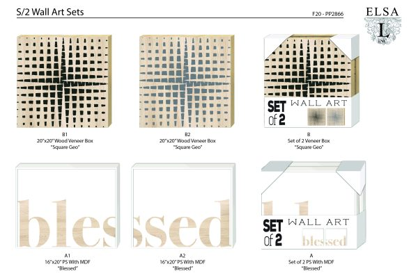 PP2866_ElsaL-Wall Art Sets-Blessed-And-Square Geo